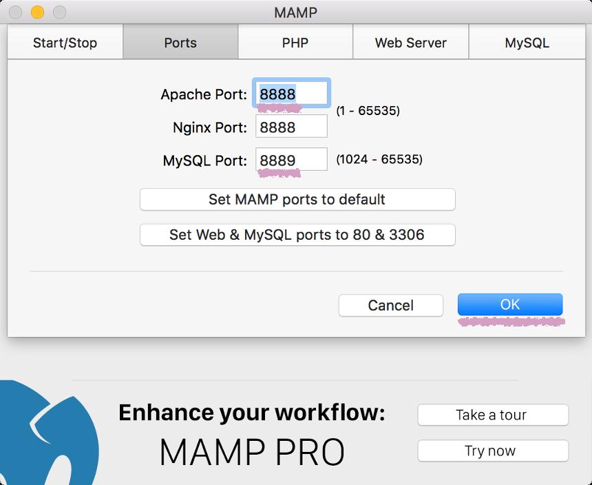 mamp mampのポート番号を元に戻す webデザインラボ